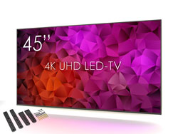 SWEDX SuperSlim 45 inch 4K LED-TV with Wall Mount. Pixel Policy 1